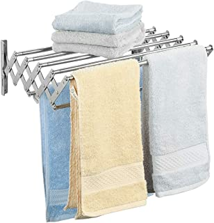 Ogrmar Stainless Steel Space-Saving Towel Rack, Wall Mounted Retractable Huge Capacity Drying Rack for Hanging Towels