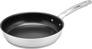 Amazon Brand - Solimo Stainless Steel Non-Stick Frypan, 24 cm, Silver