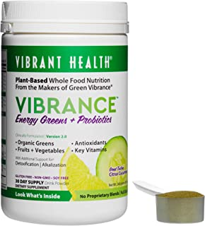 Vibrant Health - Vibrance Citrus Cucumber, Plant-Based Whole Food Nutrition Made with Organic Ingredients, 30 Servings