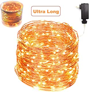 ZAECANY 132 Feet 400 LEDs Copper Wire String Lights, Christmas Lights Indoor Decoration for Party Wedding Bedroom Christmas Tree, Outdoor Fully Waterproof Including Cable and Adapter, Warm White