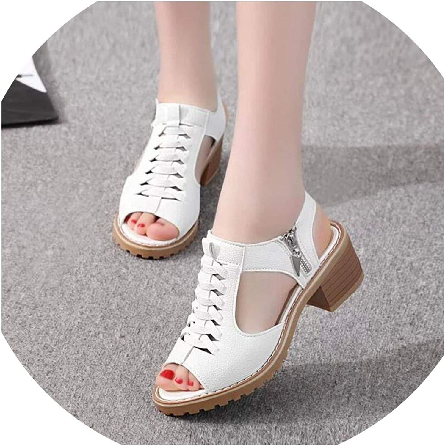 Vintage Elegant Mid Square Heel Sandals Summer Style Peep Toe Cross Tied Side Zip Design Woman shoes
