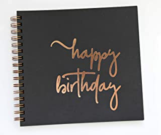 """Birthday Guestbook, Rose Gold Party Decorations, Polaroid Guestbook, 90 Black Pgs. 8.5""""x9.5"""". Sweet 16 Guestbook Quincener..."""