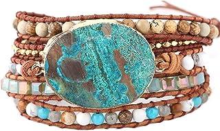 MO SI YI Genuine Leader Bead Wrap Bracelets Women Girls Men Multi-Colors 4/6mm Round India Agate Gem/Stone Beaded 2/3/5 Wrapped Adjustable Handmade