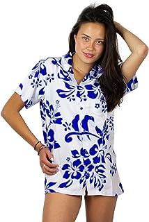 V.H.O Funky Hawaiian Shirt Blouse Women Short-Sleeve Front-Pocket Hibiscus Palms Summer Indigo on White