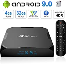 (Upgrade) Android 9.0 TV Box, X96 Max Android TV Box - 4GB RAM 32GB ROM Amlogic S905X2 Quad-core 64 Bits, Dual WiFi 2.4G+5G/1000M Ethernet/BT 4.1/USB 3.0/H.265 3D 4K@75fps Smart Media Player OTT Box