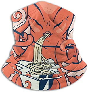 A Cartoon Octopus Eating Asian Noodles Adult Windproof Funny Neck Warmer Scarf Face Mask For Outdoor Motorcycle Fishing