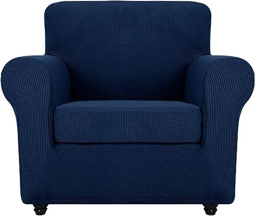 Cubierta del Tub Chair Moderna con Dise/ño de Jacquard de Diamantes Azul Protector de Sof/á Chester Lavable Facai Funda de Sill/ón Chesterfield El/ástica