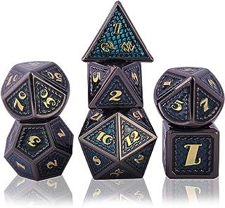Schleuder Dadi D&D Set Metallo Dice DND, Poliedrici Dadi per Dungeons & Dragons Gioco da Tavolo, Rpg MTG Lega Zinco Dadi d...