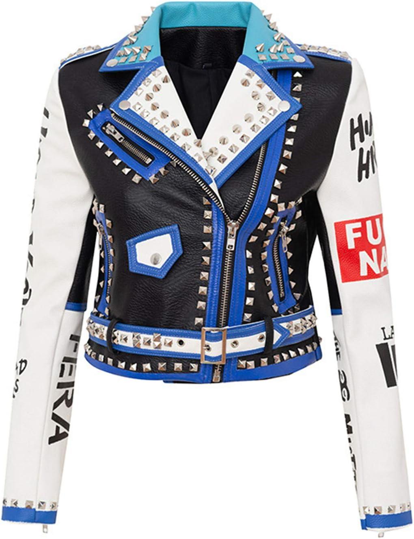 Women's Faux Leather Jackets,Printing Textured Short Nightclub Moto Jacket,Zip-Up Slim PU Biker Coat with Pockets,1,M