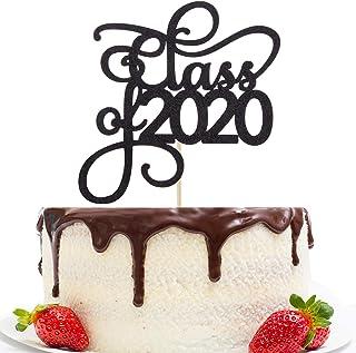 Black Glitter Class of 2020 Cake Topper Party Decor 2020 Congrats Grad Photo Prop High School Graduation Celebration