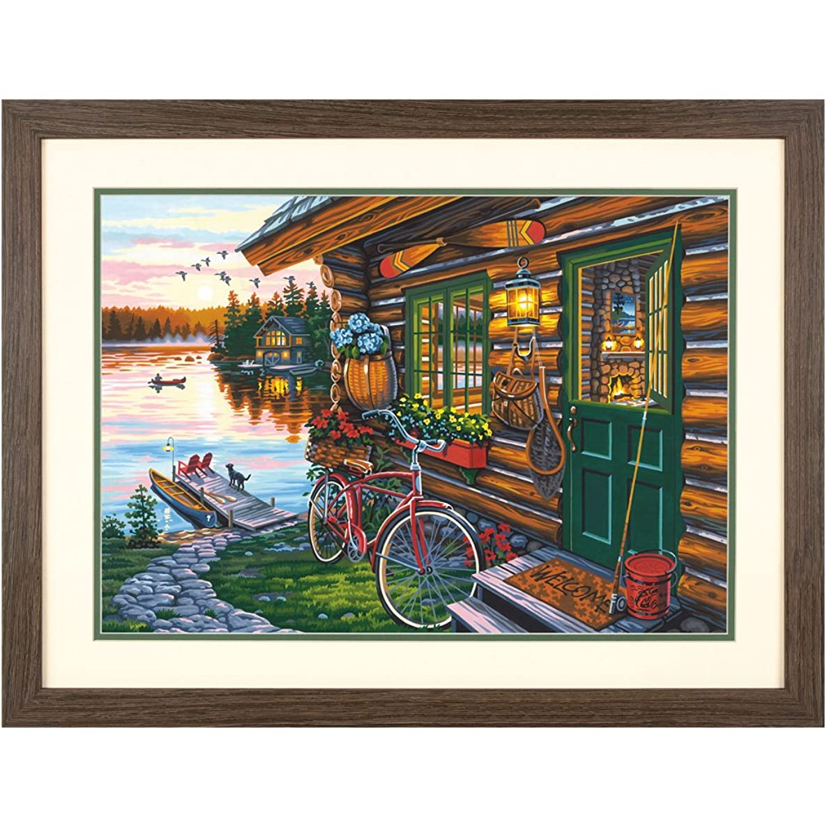 Dimensions 73-91660 Cabin View Paint by Numbers for Adults, 20'' W x 14'' L