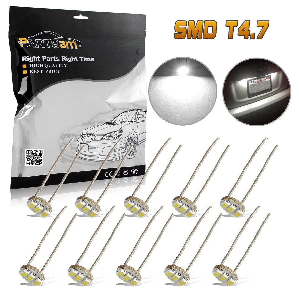 Partsam 10Pcs White 4.7mm Mini LED Bulbs Instrument Cluster Panel Backlight Gauge Lights 12V 95ma
