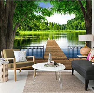 Pbldb 5D Murals Forests Wallpaper Lake Trees Fence Wood Road 3D Wall Photo Mural Wall Paper for Bedroom 3D Wall Murals-200X140Cm