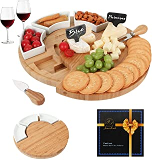 FunLect Bamboo Cheese Board Set – Serving Tray and Cheese Serving Platter. Round Cheese Board and Knife Set for Cracker and Brie. Large Charcuterie Board Set and Cheese Tray for Housewarming Gift