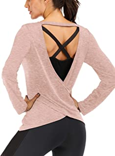 Fihapyli Women's Long Sleeve Blouse Stretchy Loose Backless Knit Tee Shirts Workout Tops for Women