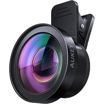 スマホレンズ AUKEY スマホ用カメラレンズ セルカレンズ 2in1 (0.45倍広角、15×マクロ) クリップ式 自撮りレンズ iPhone、Samsung、Sony、Android スマートフォン、タプレットなどに対応 PL-WD06