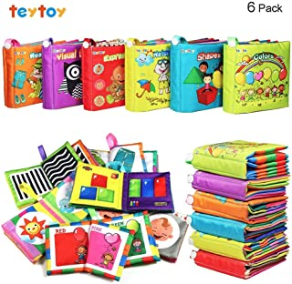 teytoy My First Soft Book, 6 PCS Nontoxic Fabric Baby Cloth Books Early Education Toys Activity Crinkle Cloth Book for Toddler, Infants and Kids Perfect for Baby Shower (New Version)