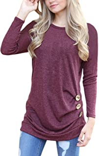 Women's Casual Long Sleeve Round Neck Solid Loose Fit Tunic Shirt Blouse Tops