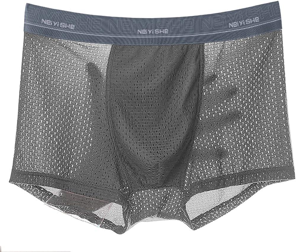 GBIUN Men's Underwear Men's Ice Silk Summer Thin Breathable Boxer Briefs Pack of 4