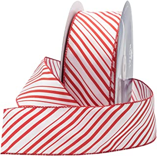 Royal Imports Red/White Candy Cane Ribbon, 2.5