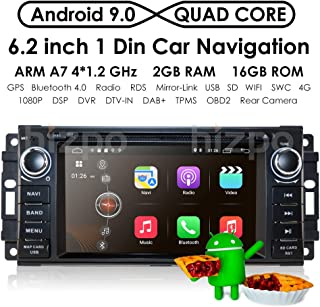 hizpo Android 9.0 OS 6.2 Inch 1 Din Car Navigation DVD Player Radio Stereo Fit for Jeep Wrangler Chevrolet Dodge Chrysler with Mirrorlink Bluetooth WiFi 4G RDS OBD2 DVR DAB+ TPMS