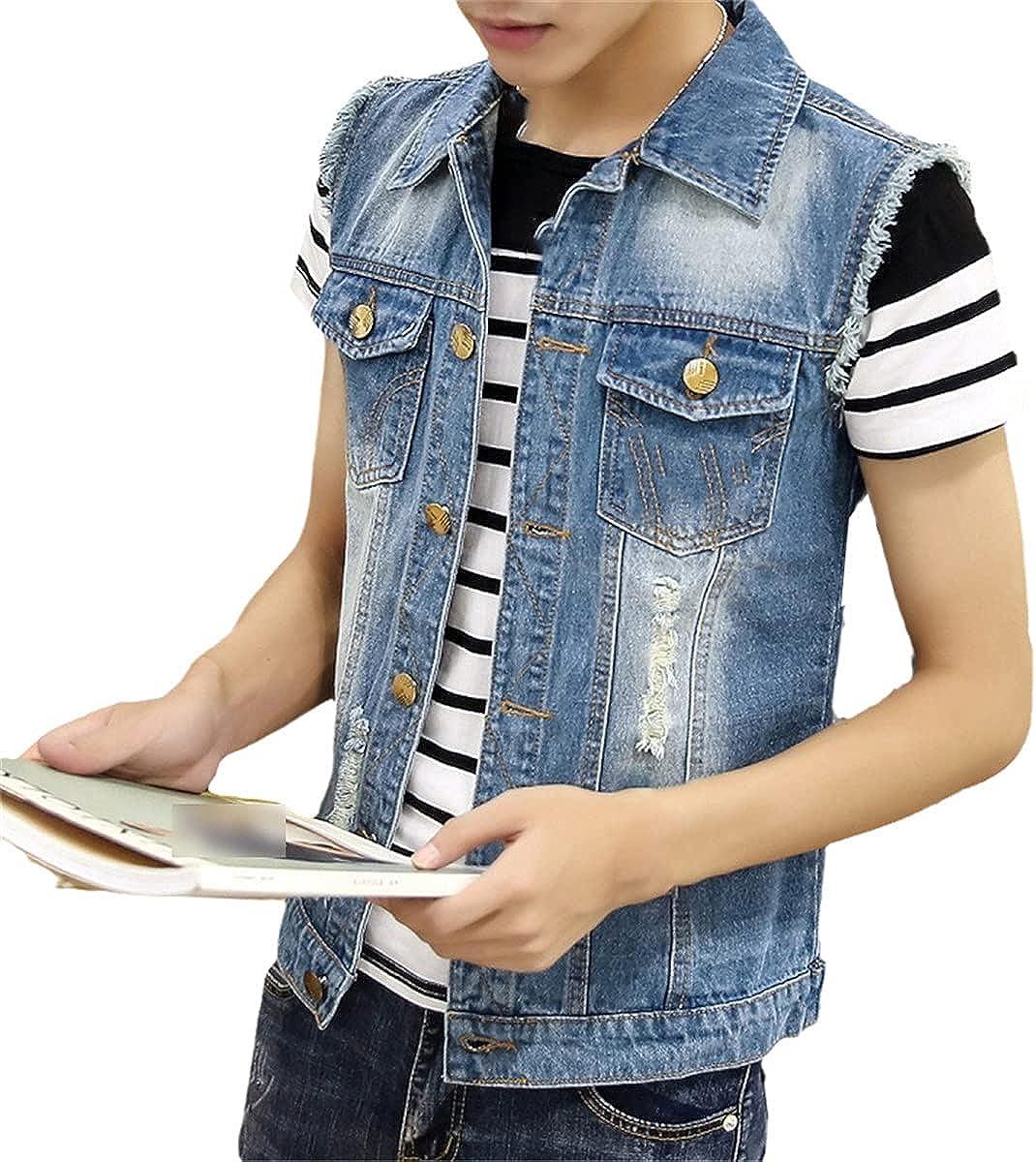 Ripped Denim Jacket Men's Denim Vest Hip-Hop Denim Jacket Sleeveless