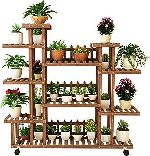 Multi-Layer Flower Shelf Flower Shelf with 7 Tiers Plant Stand Multi-Layer Garden Display Shelf Storage Shelf with Wheels Floor Standing Rack Anti-Corrosion Large Size Wooden Interior Flower Pot Shel