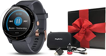 Garmin vivoactive 3 Music Gift Box Bundle | with HD Screen Protector (x4), PlayBetter USB Wall & Car Charging Adapters, Hard Case | Multi-Sport Fitness GPS Watch | Gift Box (Music - Blue/Rose Gold)