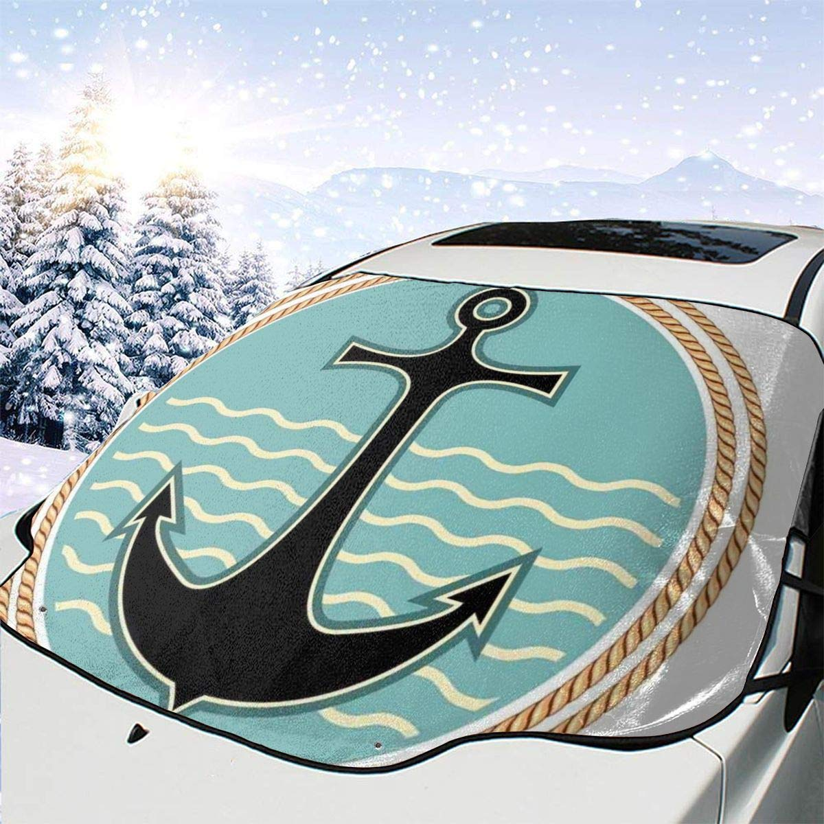 Car Front Window Windshield Snow Cover Wav Nautical Symbol Max 47% OFF with Max 80% OFF