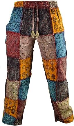 Little Kathmandu - Pantalones rectos, informal, algodón, estampados, estilo funky