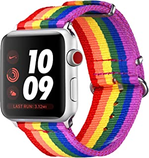 Bandmax Compatible Rainbow Apple Watch Bands LGBT, Gay Pride Colorful Sport Straps Women Men Nylon Replacement Wristband Accessories with Metal Buckle Compatible iwatch Series 4/3/2/1 42MM 44MM