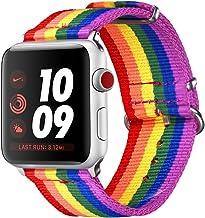 bandmax Correa para Watch Series 3/2 / 1, 38mm LGBT Orgullo 6 Colores Arco Iris Watchband de Nailon Trenzado Denim Telas Reemplazo de Banda Correa para Apple Watch Todos Los Modelos (38mm, Arco Iris)