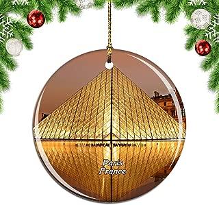 Weekino France Louvre Museum Paris Christmas Xmas Tree Ornament Decoration Hanging Pendant Decor City Travel Souvenir Collection Double Sided Porcelain 2.85 Inch