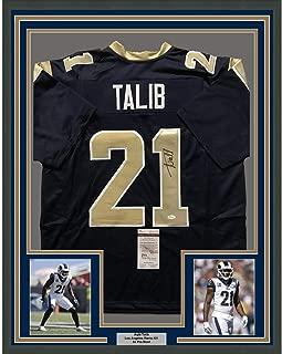 Framed Autographed/Signed Aqib Talib 33x42 Los Angeles LA Blue Football Jersey JSA COA
