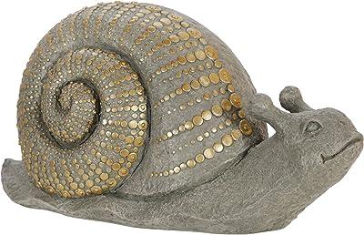 "Sagebrook Home 15114-02 Polyresin 16"" Snail W/Gold Dots, Gray"