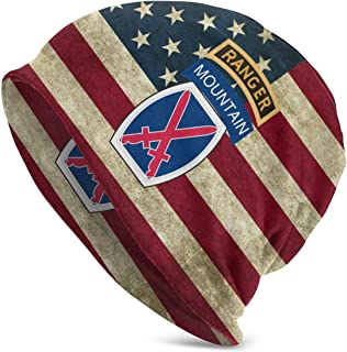 10th Mountain Division with Ranger Beanie Hat American Flag Skull Cap