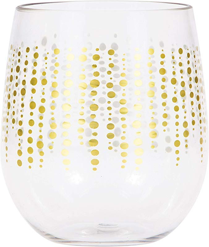 Glittering Gold Dots Plastic Stemless Wine Glasses By Elise 6 Ct