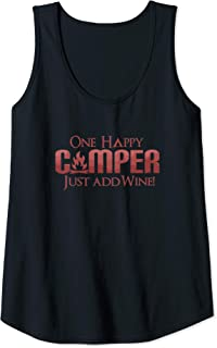 Womens Funny One Happy Camper Camping Wine Lover Drinking Tank Top