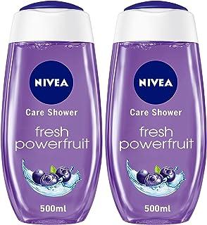 NIVEA Fresh Powerfruit Shower Gel, Antioxidants, Blueberry Scent, 2 x 500 ml, 81095