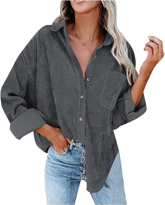 Women's outlet Corduroy Long Sleeve Shirts Sales Down V Neck Blou Button
