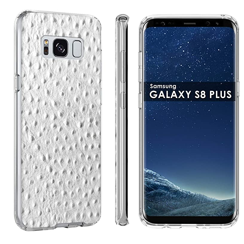 Samsung Galaxy S8 Phone Cover Case by [TalkingCase], Clear Premium Thin Gel Phone Cover, Ultra Flexible Slim TPU, Made for Samsung Galaxy S8,SM-G950 [White Ostrich Texture] Designed in USA