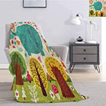 Luoiaax Elephant Comfortable Large Blanket Illustration with Elephant Happy World Trees Leaves Hearts Love Children Artwork Microfiber Blanket Bed Sofa or Travel W91 x L60 Inch Multicolor