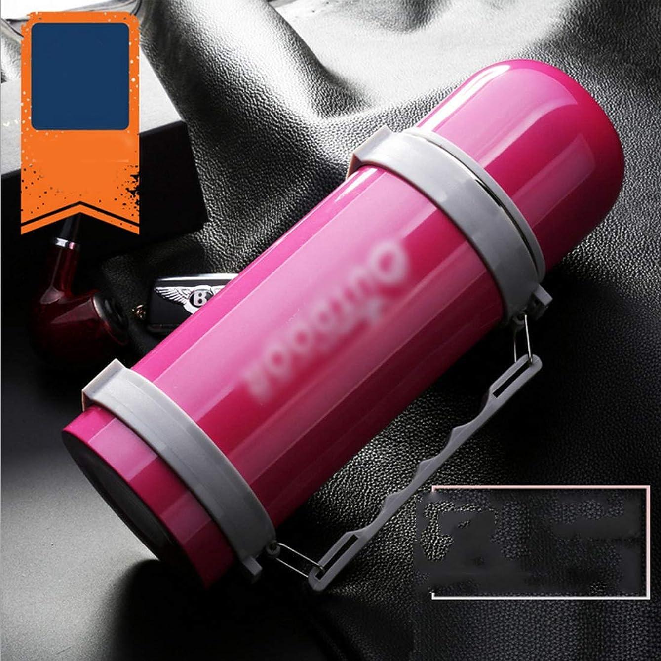 ステレオタイプビュッフェペストリーカップ ステンレス製の水のボトル、真空断熱リークプルーフトラベルボトル-1000ミリリットル飲み物ホット&コールド真空断熱ウォーターボトルステンレス鋼マグ (色 : ピンク)