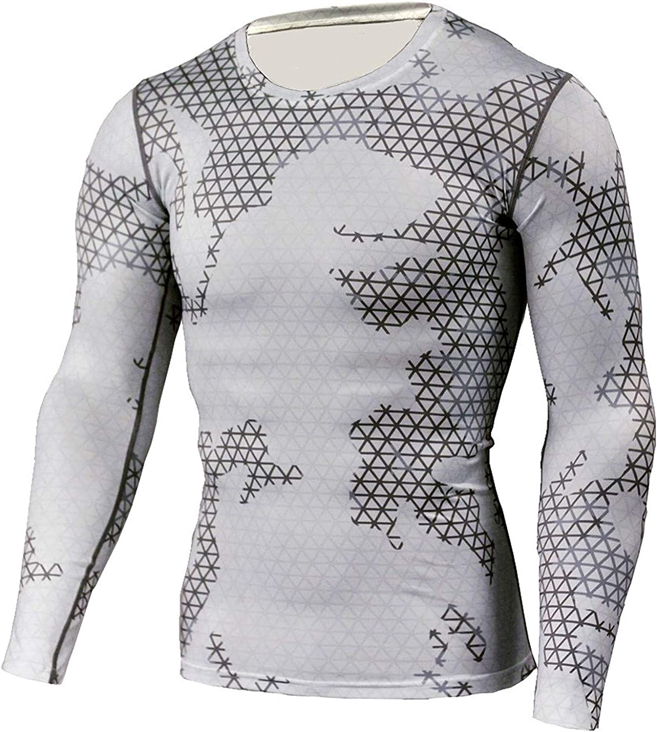 Men's Fitness Long Sleeve Shirts and Legging Quick Dry Sport Suits Fashion Printed Gyming Tops Pants Suits