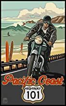 Northwest Art Mall Pacific Coast Highway 101 Motorcycle Rider Surfers Artwork by Paul A. Lanquist, 11-Inch by 17-Inch
