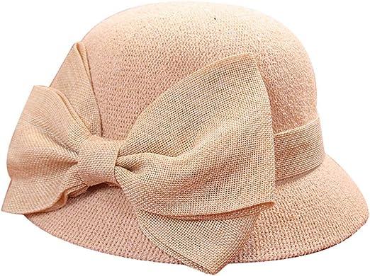 riou Sombrero de Pescador con Lazo de Pescador de Cuenca de Verano para Mujer Plegable Sombrero de Sol Color Sólido Playa Vacaciones