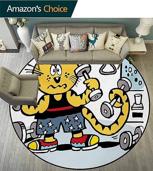橄榄球运动健身现代法兰绒超细纤维防滑机器圆形区域地毯卡通风格猫在健身房使用重量努力出汗幽默有趣漫画幼儿园地毯直径 35 英寸