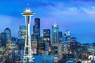 Seattle Washington Skyline Space Needle at Dusk Photo Photograph Cool Wall Decor Art Print Poster 36x24