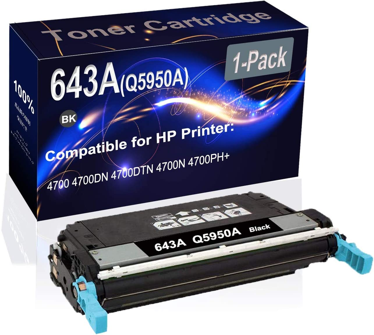1-Pack (Black) Compatible High Yield 643A (Q5950A) Printer Toner Cartridge use for HP 4700 4700DN Printers