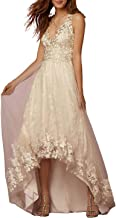 High Low Beach Wedding Dress Tulle Lace A-line V-Neck Appliques Bridal Gowns for Bride